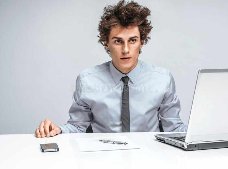Modern office man at working place stock photos
