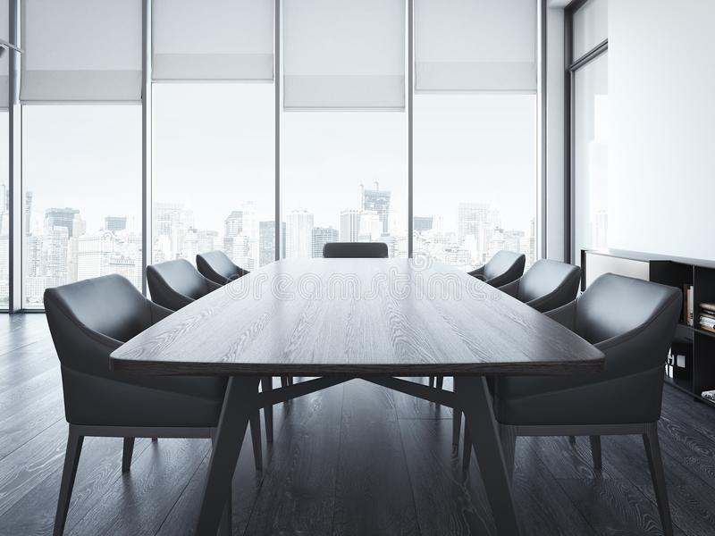 Download Modern Office Meeting Room With Brown Table 3d Rendering Stock Photo