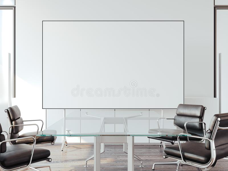 Modern office for negotiations with whiteboard. 3d rendering. Modern office for negotiations with blank whiteboard. 3d rendering royalty free illustration