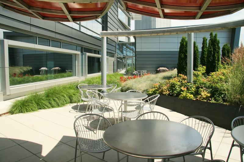 Modern office outdoor lunch area stock photography