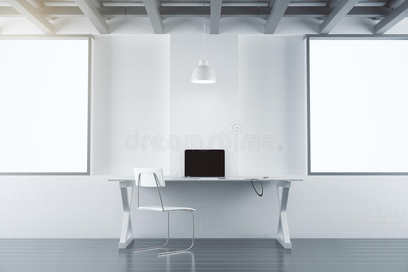 Modern office room with furniture, laptop and blank white poster vector illustration