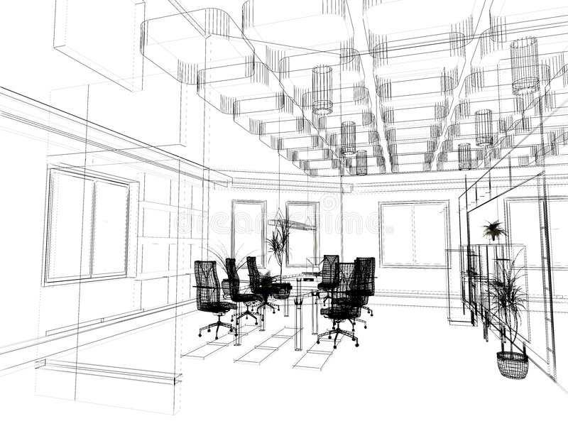 The Modern Office Sketch Stock Images