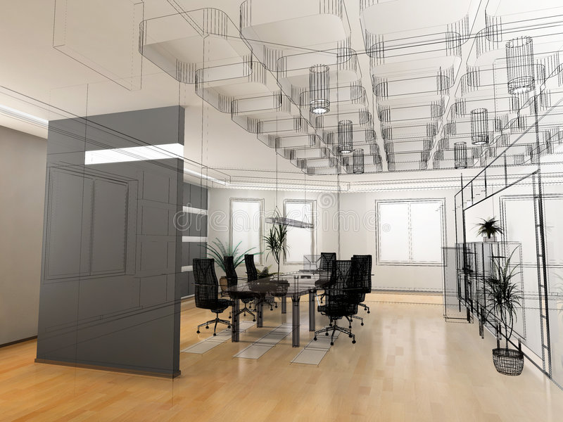 The modern office sketch royalty free stock photo