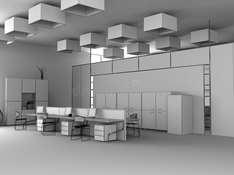 The modern office sketch. The modern office interior wire design sketch (3d render