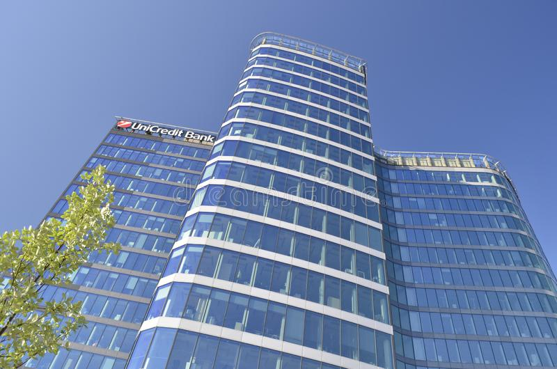 Modern office skyscraper in Prague Czech Republic stock images