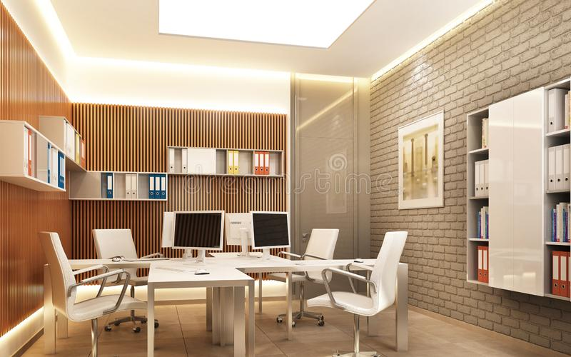 Modern office space with brick wall stock image
