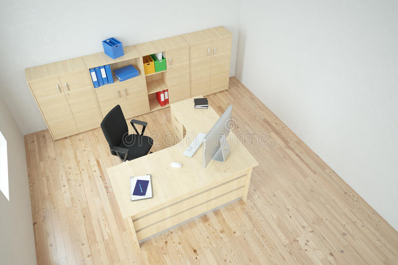 Modern office top view vector illustration