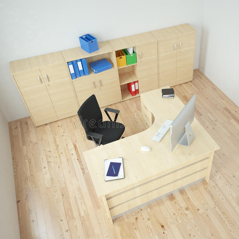 Modern office top view stock illustration
