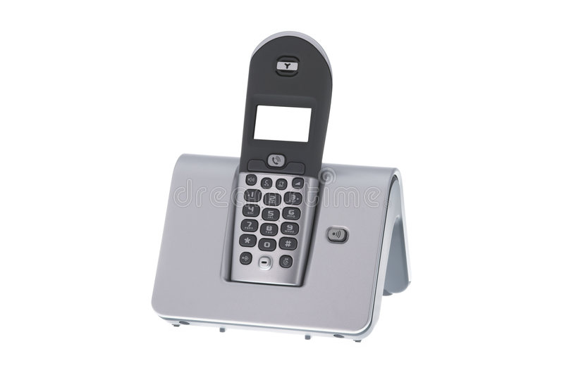 Modern office wireless telephone. On white background royalty free stock photo