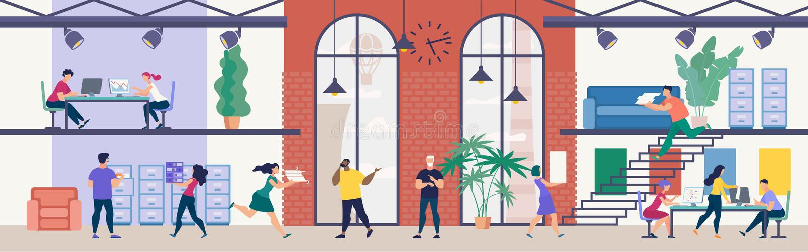 Company Employees Working in Office Flat Vector royalty free illustration