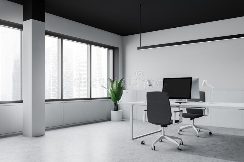 Modern office workplace with computer stock illustration