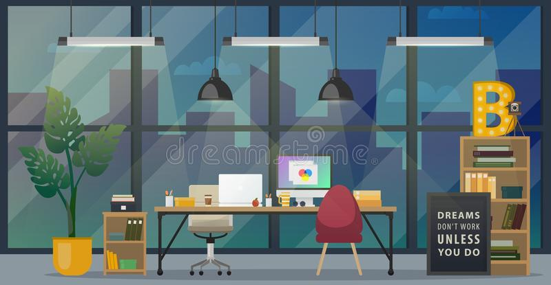 Modern office workplace royalty free illustration