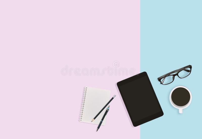 Modern office workplace desktop background in pastel with copy space. Business concept. royalty free stock image