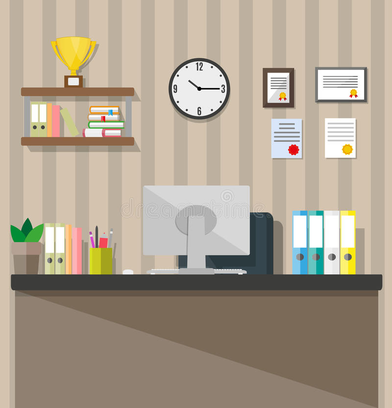 Download Modern Office Workspace Stock Vector Image Of Busy