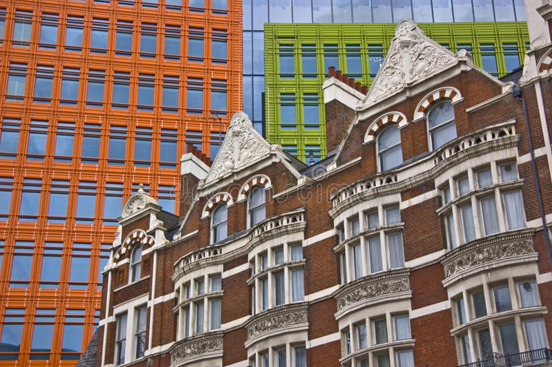Modern and old buildings. In london stock images