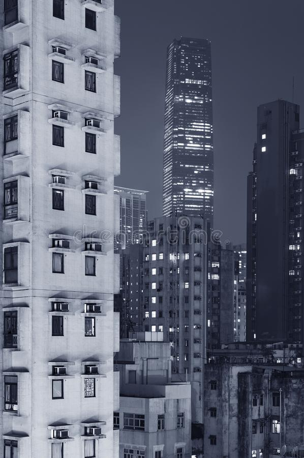 Modern and old buildings in Hong Kong city royalty free stock image