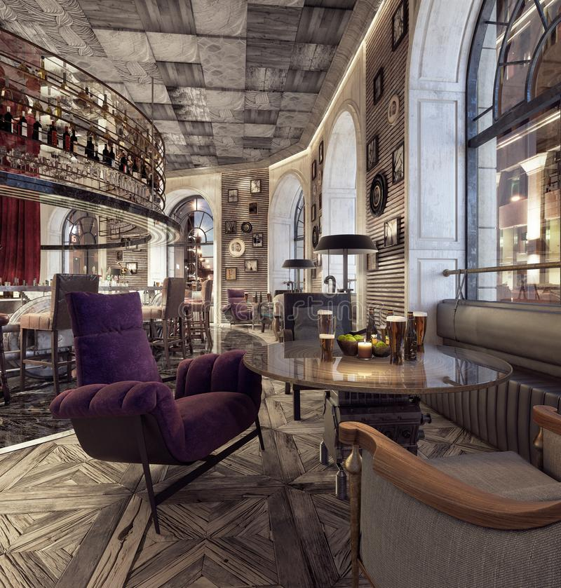 Modern Old Fashioned Restaurant Lounge Bar royalty free stock photos