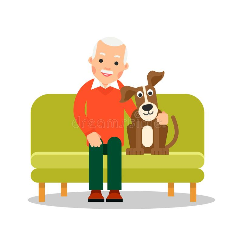 Modern old man sitting on couch next to him is a dog. Retirement concept. Leisure pensioner. Senior with adorable pet. Flat design. Cartoon illustration royalty free illustration