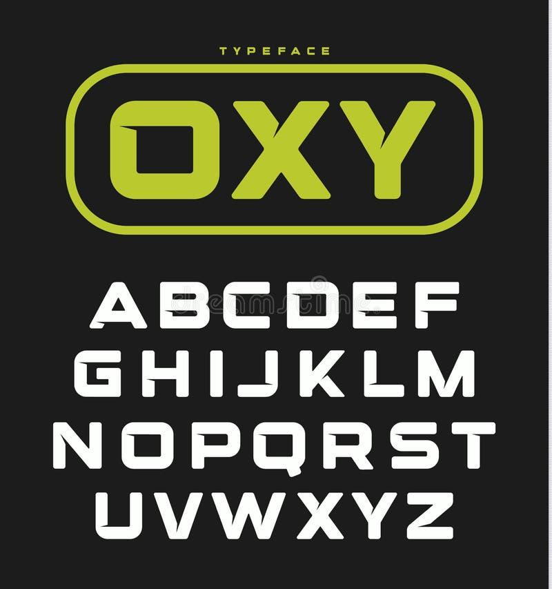 Modern ongebruikelijk gewaagd Engels alfabet Geometrische doopvont, conceptuele technische brieven voor monogram of embleem op zw vector illustratie