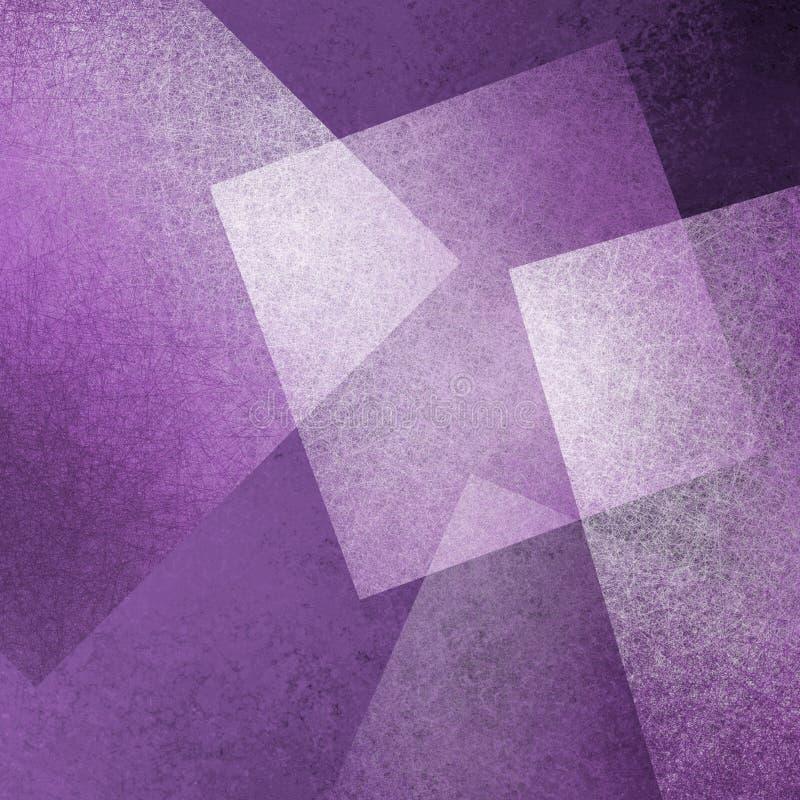 Modern ontwerp als achtergrond met purpere en witte drijvende diamant en vierkante vormen die transparant zijn of door met vaag l stock illustratie