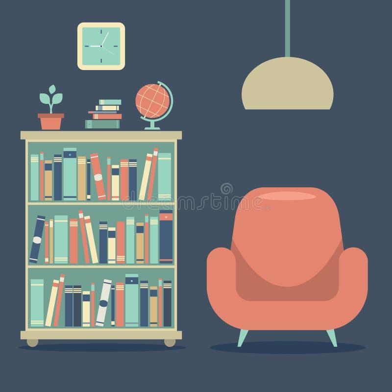 Modern Ontwerp Binnenlands Sofa And Book Cabinet stock illustratie