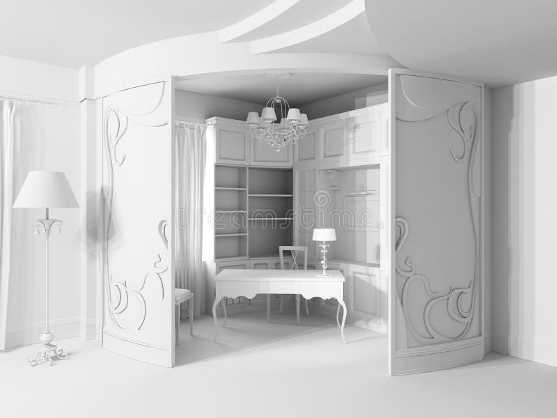 Modern ontwerpbinnenland van bureau. royalty-vrije illustratie