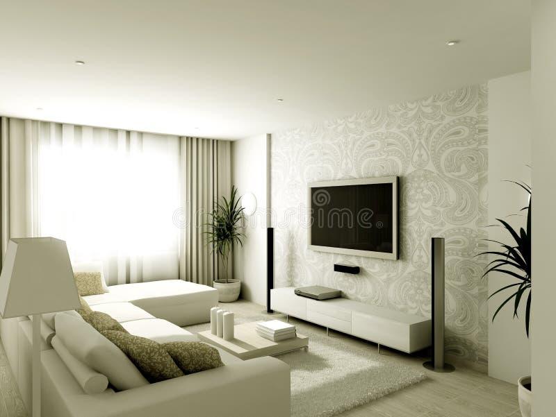 Modern ontwerpbinnenland van woonkamer stock illustratie