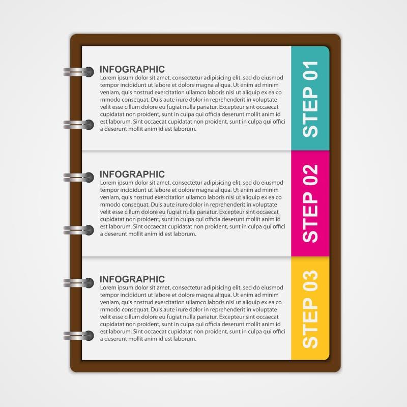Modern ontwerpmalplaatje infographic van notitieboekjedocument vector illustratie