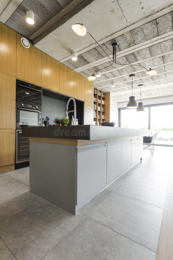 Modern open kitchen stock photo