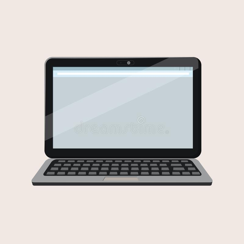 Modern open laptop with blank screen isolated on white background. Realistic laptop mockup. Computer screen front view royalty free illustration