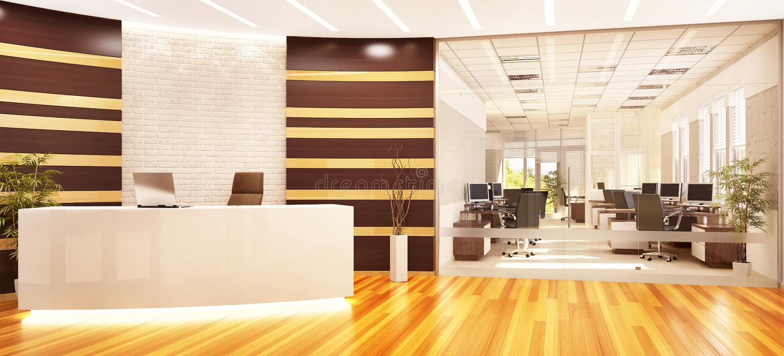 Modern open office with reception and glass partition. Open office with reception and glass partition royalty free illustration