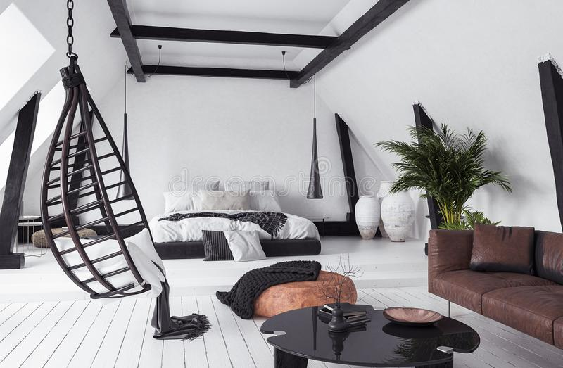 Modern open-plan apartment in attic, loft style royalty free stock images