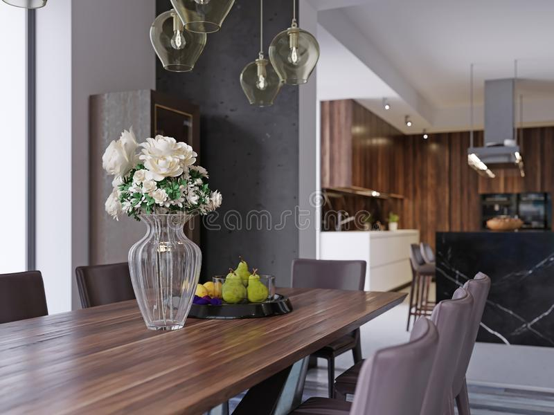 Modern open-plan dining room interior with a large table with formal place settings in a long room with feature windows, a kitchen. And counter. 3d rendering stock illustration