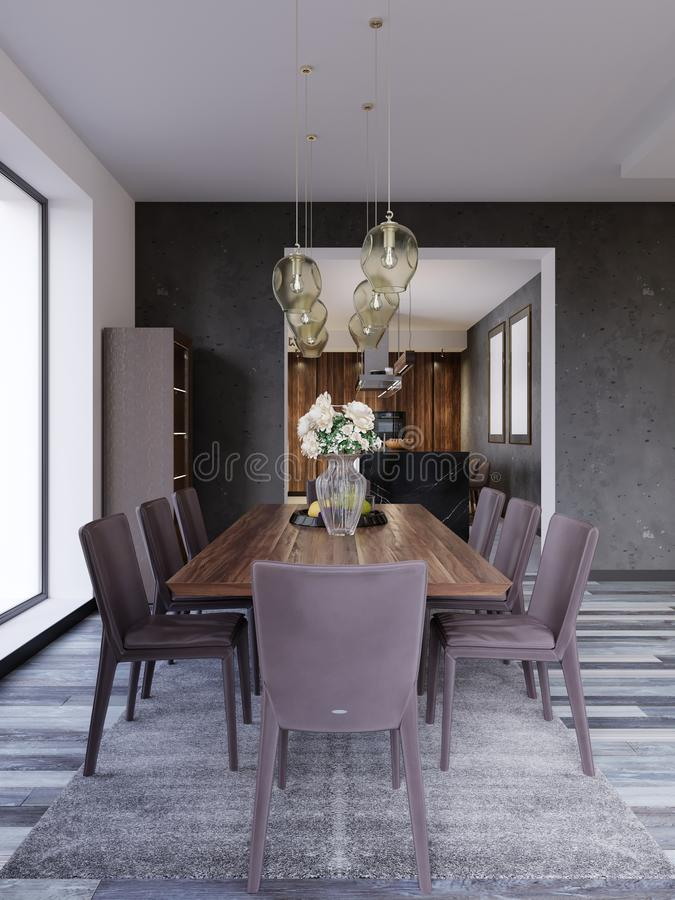 Modern open-plan dining room interior with a large table with formal place settings in a long room with feature windows, a kitchen. And counter. 3d rendering royalty free illustration