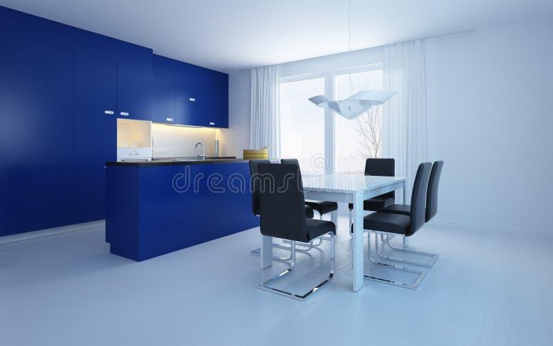 Modern open-plan kitchenette diner stock illustration