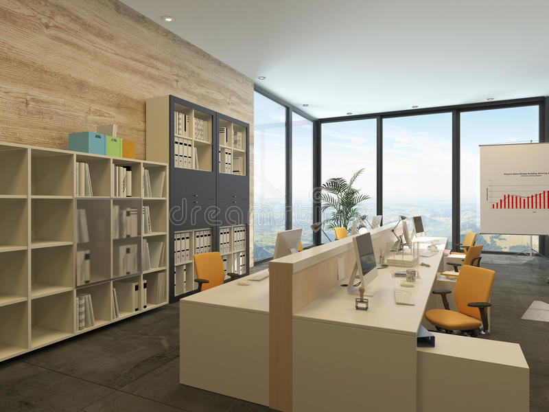 Modern open plan office with multiple workstations stock - What are floor to ceiling windows called ...