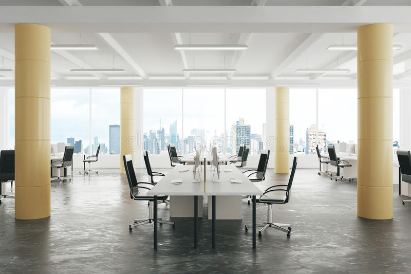 Download Modern Open Space Loft Office With Concrete Floor Big Windows A Stock Illustration
