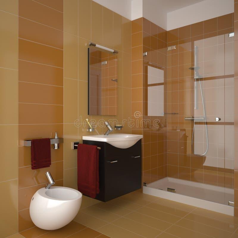 Modern orange bathroom stock illustration