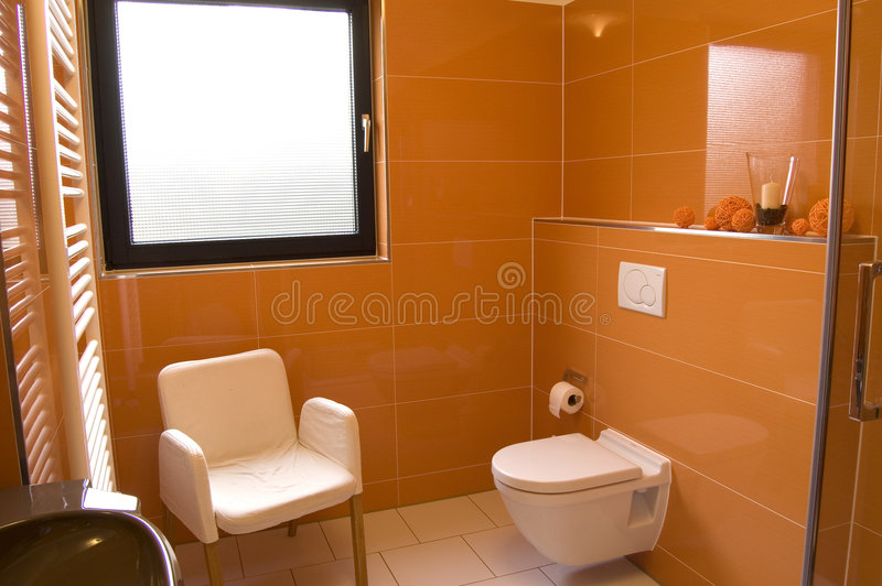 Modern Orange Bathroom Stock Photography