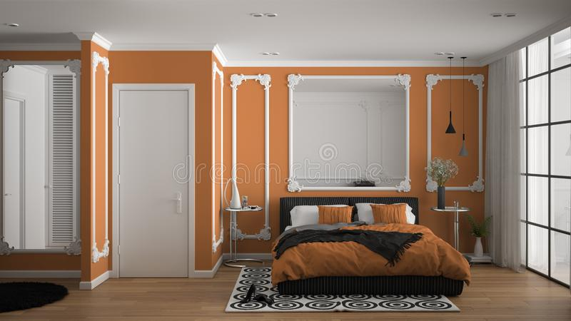 Modern orange colored bedroom in classic room with wall moldings, parquet, double bed with duvet and pillows, minimalist bedside. Tables, mirror and decors royalty free illustration