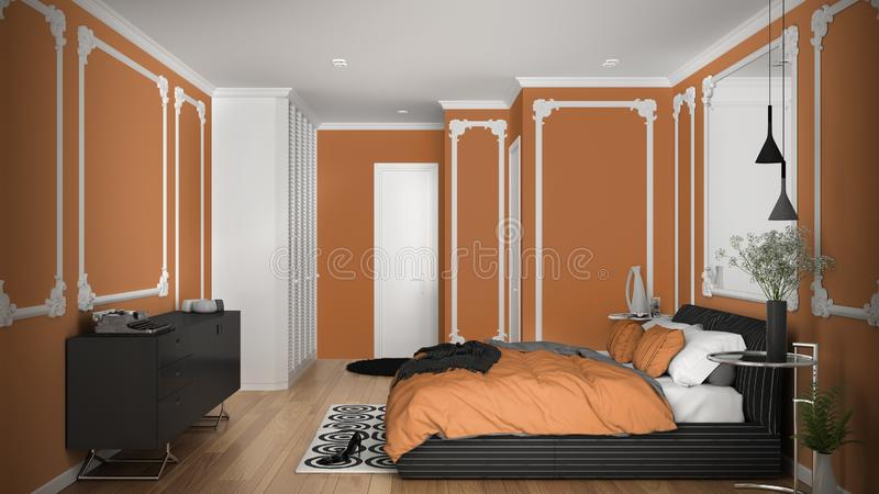 Modern orange colored bedroom in classic room with wall moldings, parquet, double bed with duvet and pillows, minimalist bedside. Tables, mirror and decors stock illustration
