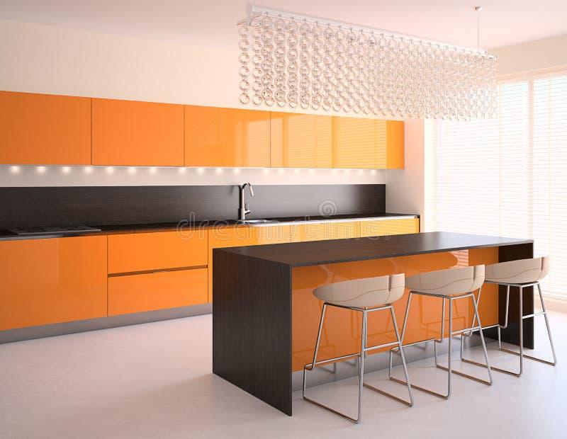 Modern orange kitchen stock illustration