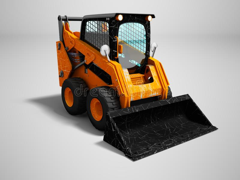 Modern orange mini loader after loading stone 3d render on gray. Background with shadow stock illustration