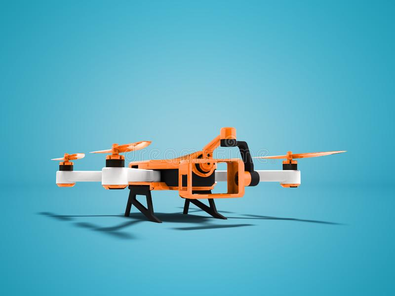 Modern orange quadrocopter drone view perspective 3d rendering on blue background with shadow royalty free illustration