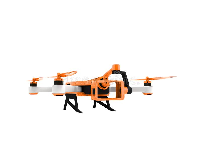 Modern orange quadrocopter drone view perspective 3d rendering o stock illustration