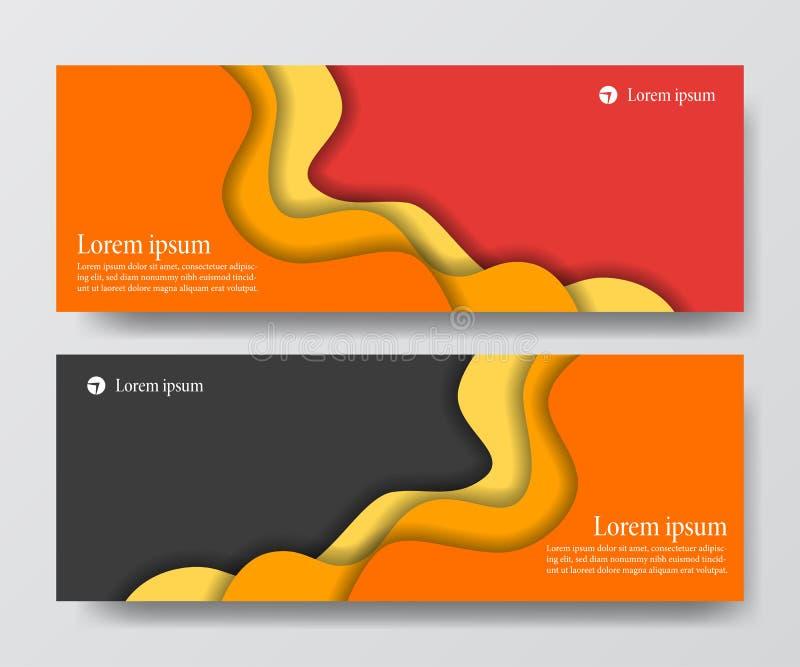 Modern orange red business header banner set wave origami paper cut craft royalty free illustration