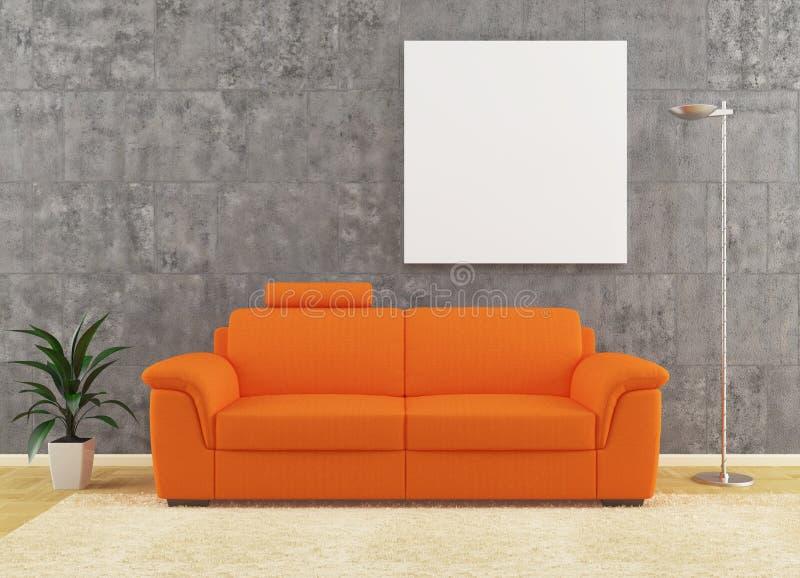 Modern orange sofa på smutsig vägginredesign