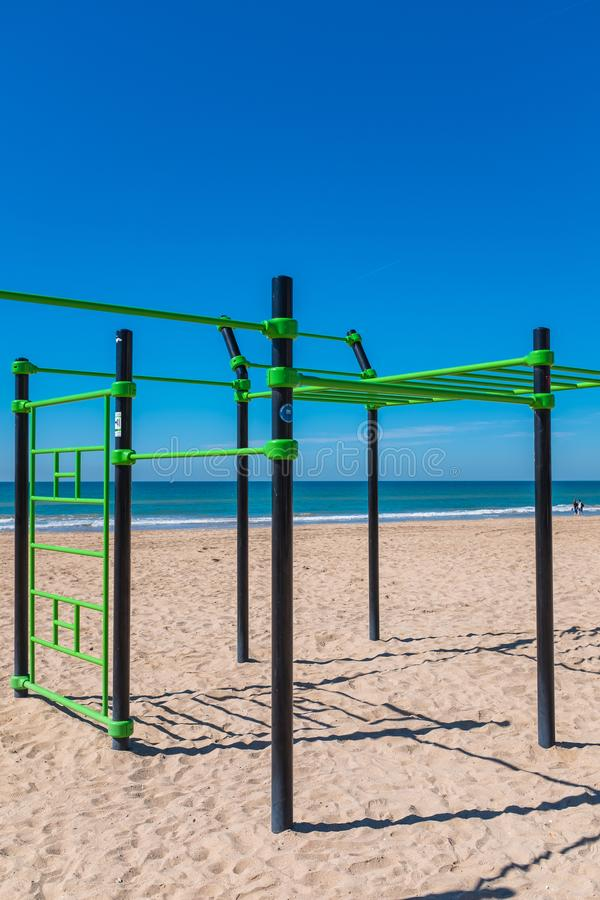 Outdoor gym on a beach. Modern outdoor gym on a beach in Calafel, Catalonia, Spain stock image