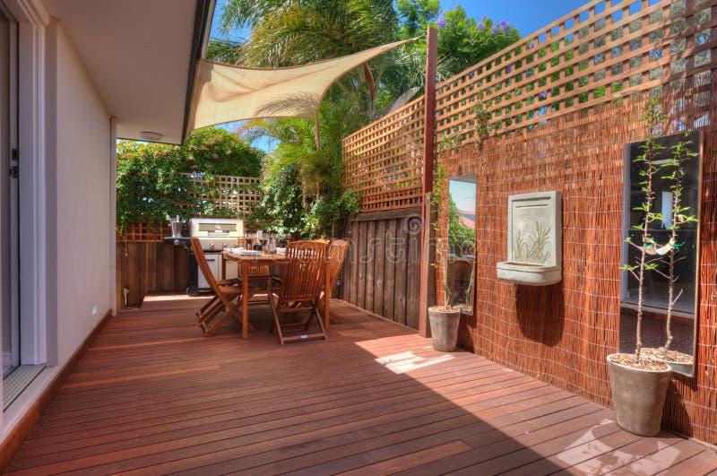 Modern outdoor living area stock photos