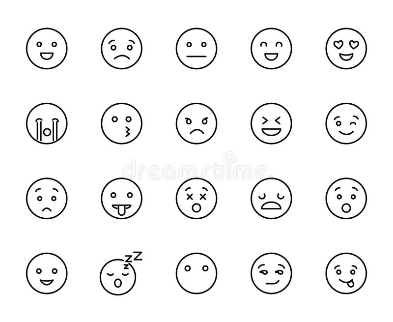 Modern outline style emoji icons collection. Premium quality symbols and sign web logo collection. Pack modern infographic logo and pictogram. Simple emoticons royalty free illustration